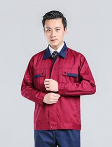 红配黑拉链款涤棉纱卡工作服